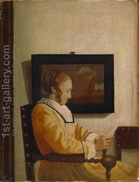 A Young Woman Reading by Jan Vermeer Van Delft - Reproduction Oil Painting