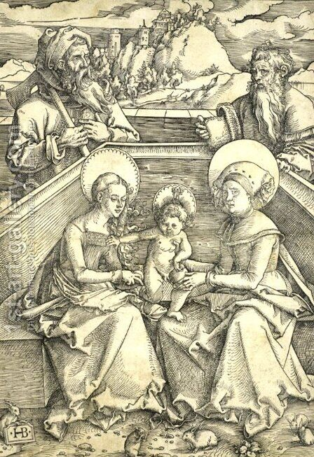The Holy Family with Saint Anne and Saint Joachim Gravure sur bois vers realisee 1510 1511 (Allemagne) 5 lapins se trouvent aux pieds de la Sai.jpg by Hans Baldung  Grien - Reproduction Oil Painting