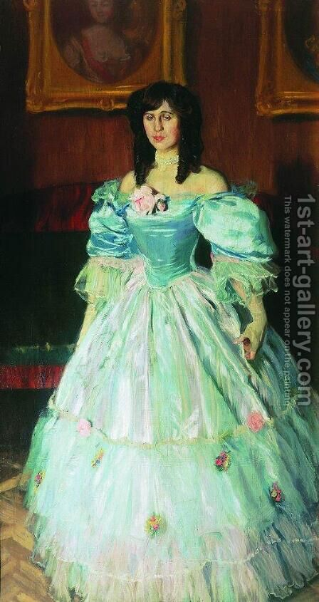 Portrait of a Woman in Blue (Portrait P. Sudkovskaya) by Boris Kustodiev - Reproduction Oil Painting