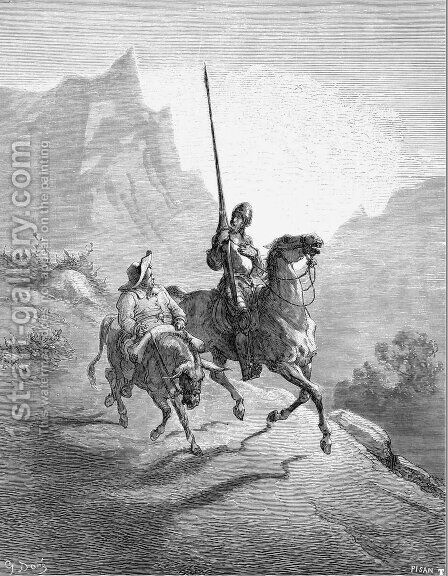 Don Quixote and Sancho Setting Out by Gustave Dore - Reproduction Oil Painting