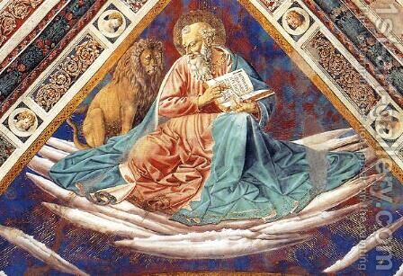 St. Mark (detail of The Four Evangelists) by Benozzo di Lese di Sandro Gozzoli - Reproduction Oil Painting
