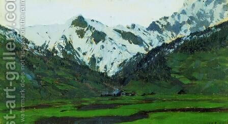 In Alps at spring by Isaak Ilyich Levitan - Reproduction Oil Painting