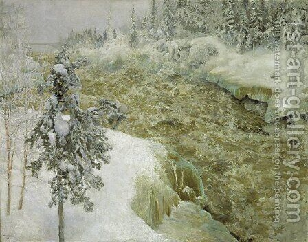 Imatra in Winter by Akseli Valdemar Gallen-Kallela - Reproduction Oil Painting