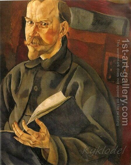 Portrait of the Artist B.M. Kustodiev by Boris Dmitrievich Grigoriev - Reproduction Oil Painting
