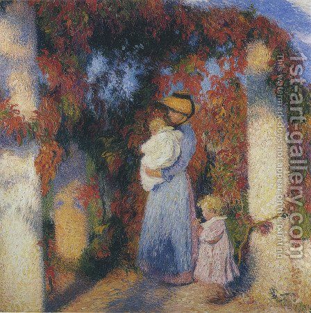 Mother and Child in Pergola at Marquayrol by Henri Martin - Reproduction Oil Painting