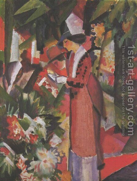 Walk in flowers by August Macke - Reproduction Oil Painting