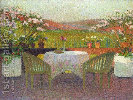 Terrace in Marquayrol by Henri Martin - Reproduction Oil Painting