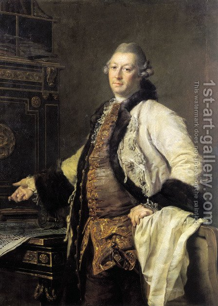 Portrait of Alexander Kokorinov, Director and First Rector of the Academy of Arts in St. Petersburg. by Dmitry Levitsky - Reproduction Oil Painting