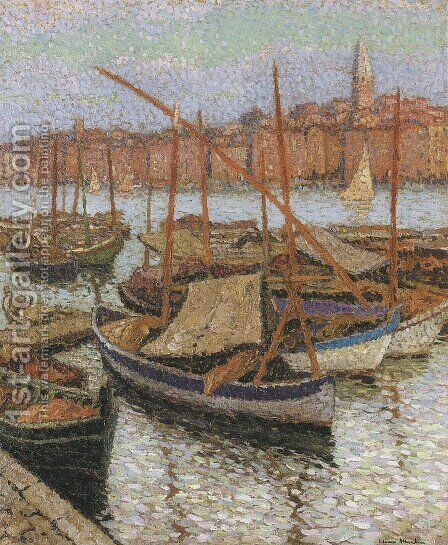 Sailboats in the Port by Henri Martin - Reproduction Oil Painting