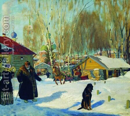 Merchant's yard by Boris Kustodiev - Reproduction Oil Painting