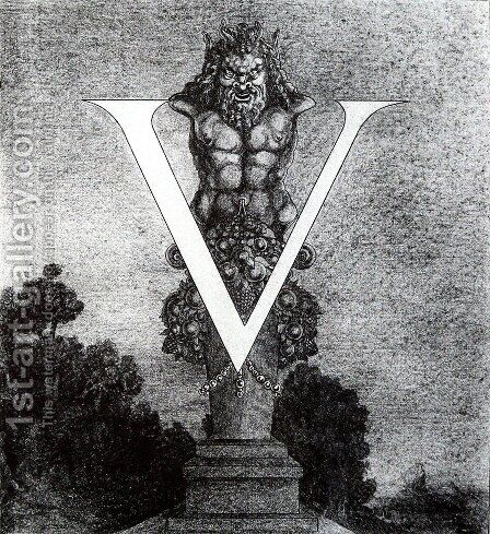 Design of Initial V by Aubrey Vincent Beardsley - Reproduction Oil Painting