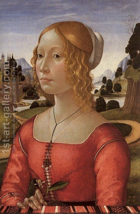 Portrait of a Lady by Domenico Ghirlandaio - Reproduction Oil Painting