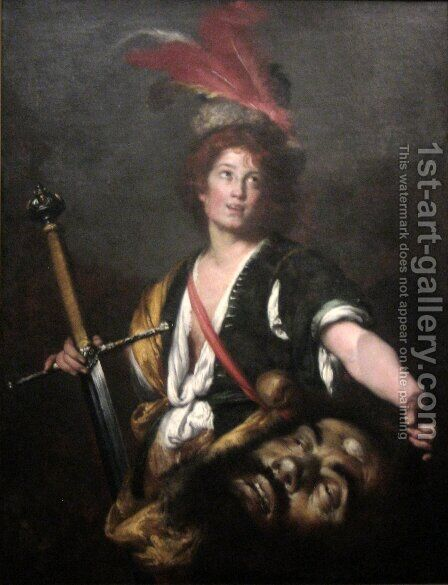 David with the Head of Goliath 2 by Bernardo Strozzi - Reproduction Oil Painting