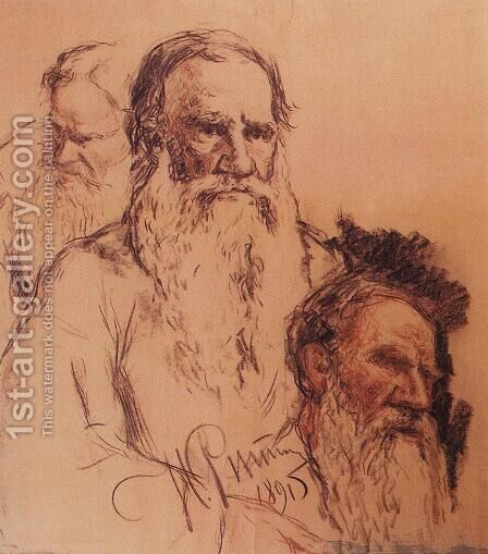 Sketches of Leo Tolstoy by Ilya Efimovich Efimovich Repin - Reproduction Oil Painting