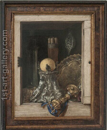 Silverware in an Open Cabinet by Cornelis Norbertus Gysbrechts - Reproduction Oil Painting