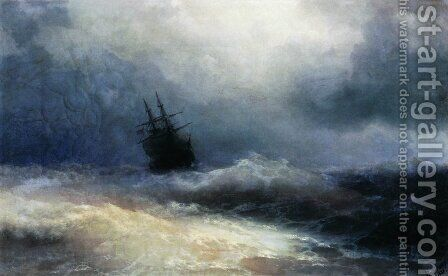 Ship in a storm by Ivan Konstantinovich Aivazovsky - Reproduction Oil Painting