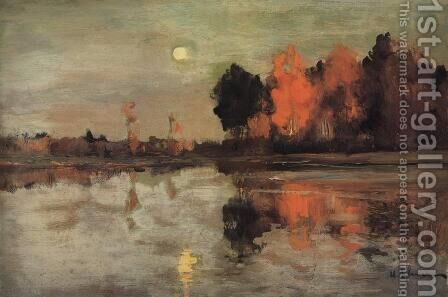 Twilight. Moon. by Isaak Ilyich Levitan - Reproduction Oil Painting