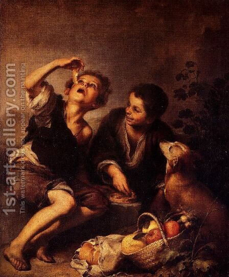 Children Eating a Pie by Bartolome Esteban Murillo - Reproduction Oil Painting