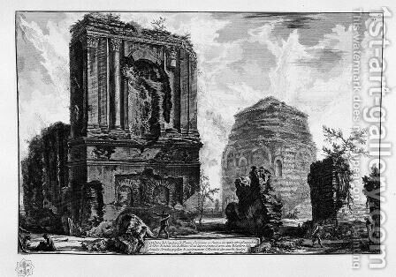 View of the Tomb of Piso Licinianus of the ancient Appian Way, beyond the waterworks tower half way Albano by Giovanni Battista Piranesi - Reproduction Oil Painting