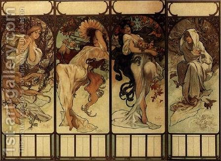 Season by Alphonse Maria Mucha - Reproduction Oil Painting