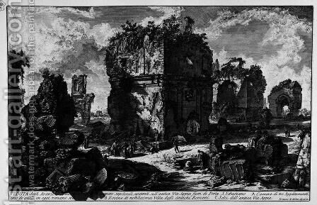 The Roman antiquities, t. 2, Plate XLVII. View the remains of some existing burial chambers on the ancient Via Appia outside the Porta S. Sebastiano. by Giovanni Battista Piranesi - Reproduction Oil Painting