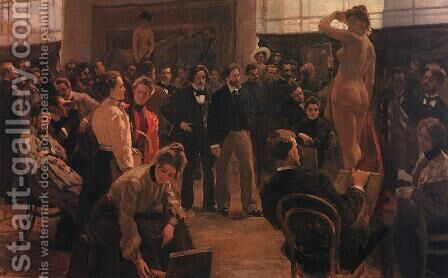 Statement of the model in the studio of Ilya Repin Academy of Arts by Boris Kustodiev - Reproduction Oil Painting
