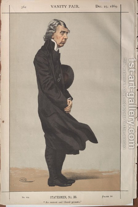Statesmen No.380 Caricature of Archibald Campbell Tait, Archbishop of Canterbury by James Jacques Joseph Tissot - Reproduction Oil Painting