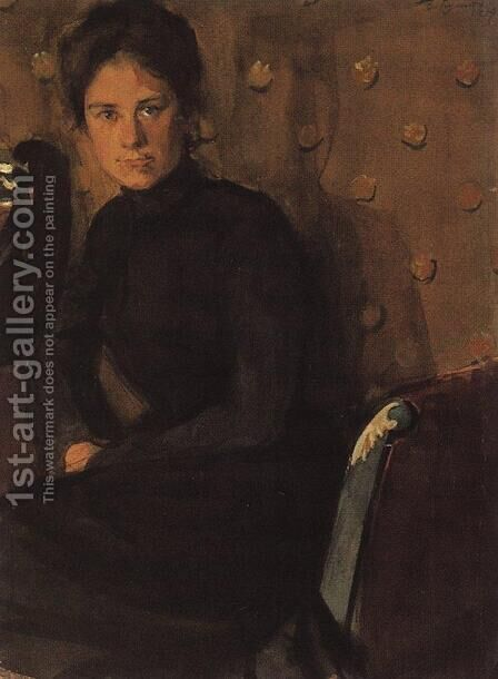 Portrait of Y.E. Kustodieva by Boris Kustodiev - Reproduction Oil Painting