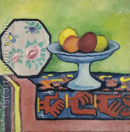 Still life with bowl of apples and Japanese fan by August Macke - Reproduction Oil Painting