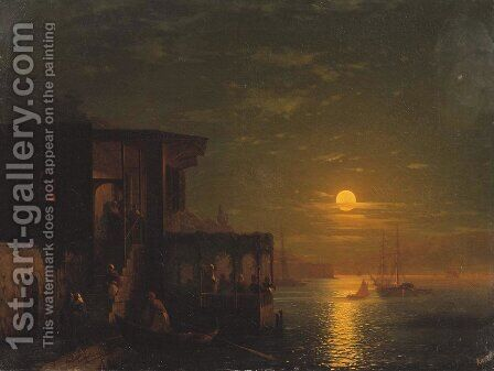 Lunar night at the sea by Ivan Konstantinovich Aivazovsky - Reproduction Oil Painting