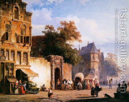 Cityview wiith marketstall by Cornelis Springer - Reproduction Oil Painting