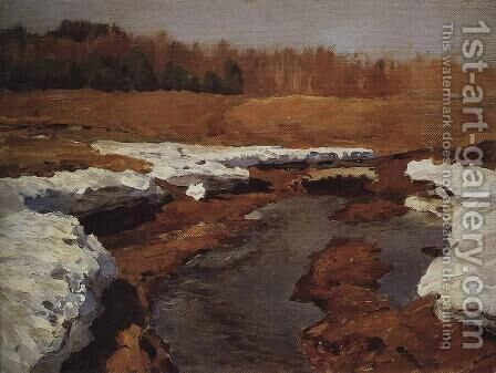 Springtime. The Last Snow. by Isaak Ilyich Levitan - Reproduction Oil Painting