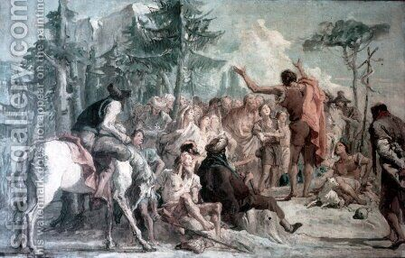 Preaching of John the Baptist by Giovanni Domenico Tiepolo - Reproduction Oil Painting