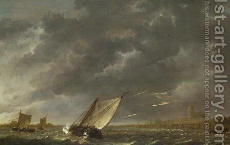 The Maas at Dordrecht in a Storm by Aelbert Cuyp - Reproduction Oil Painting
