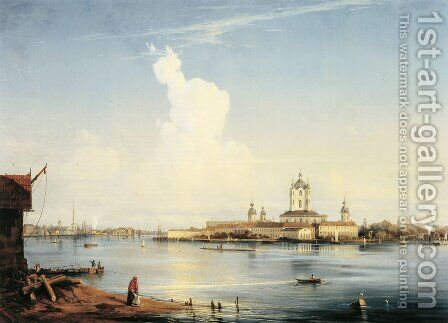 Smolny as seen from Bolshaya Okhta by Aleksei Petrovich Bogolyubov - Reproduction Oil Painting