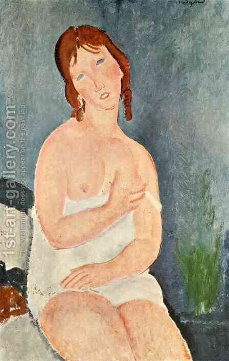 Young Woman in a Shirt (The Little Milkmaid) by Amedeo Modigliani - Reproduction Oil Painting