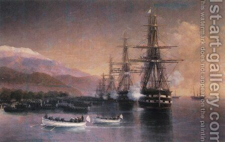 The landing to Subashi 2 by Ivan Konstantinovich Aivazovsky - Reproduction Oil Painting