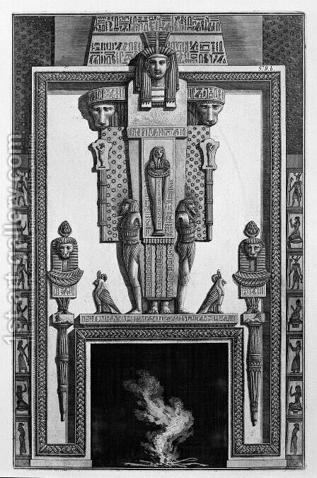 Fireplace topped by a large Egyptian-style caryatids, from a variety of decorative elements by Giovanni Battista Piranesi - Reproduction Oil Painting