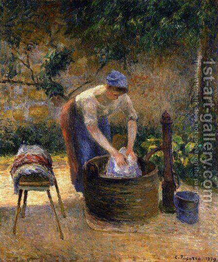 The Laundry Woman 2 by Camille Pissarro - Reproduction Oil Painting