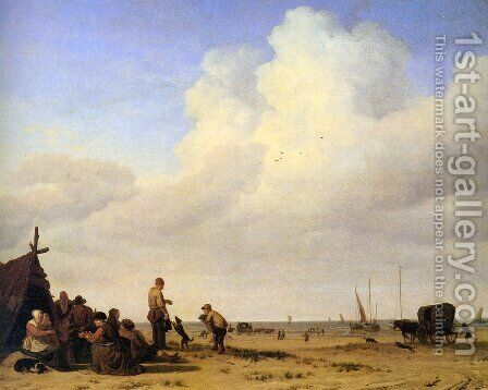 Beach scene by Adriaen Van De Velde - Reproduction Oil Painting