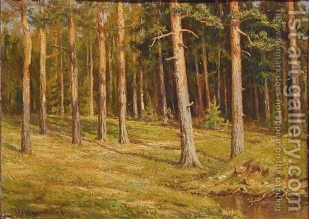 Pine forest by Ivan Shishkin - Reproduction Oil Painting