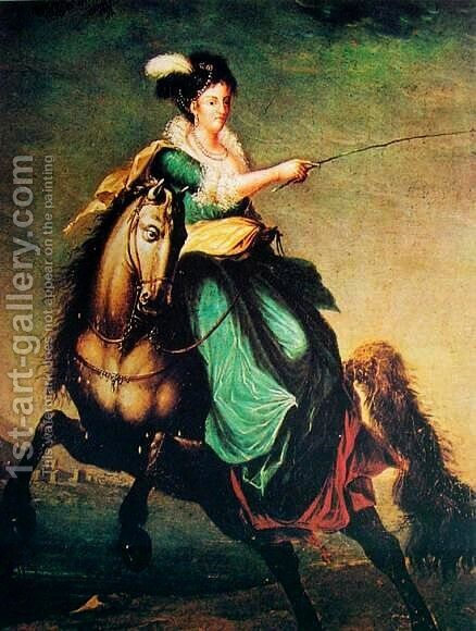 Retrato equestre de Carlota Joaquina of Spain by Domingos Antonio de Sequeira - Reproduction Oil Painting