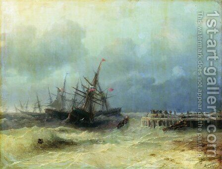 Fleeing from the storm by Ivan Konstantinovich Aivazovsky - Reproduction Oil Painting