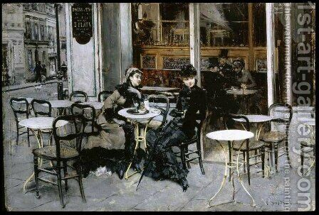 Conversation at the Cafe by Giovanni Boldini - Reproduction Oil Painting