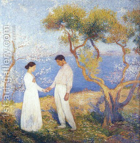 Landscape with Couple by Henri Martin - Reproduction Oil Painting