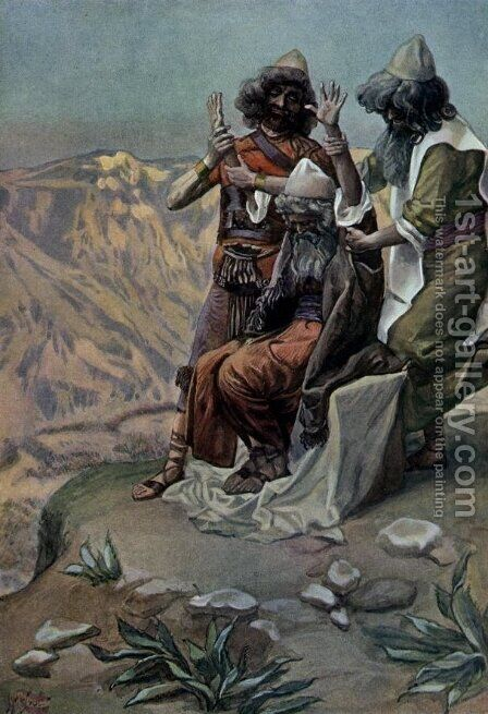 Moses on the Mountain During the Battle, as in Exodus by James Jacques Joseph Tissot - Reproduction Oil Painting
