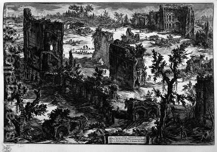 View of the Baths of Titus by Giovanni Battista Piranesi - Reproduction Oil Painting