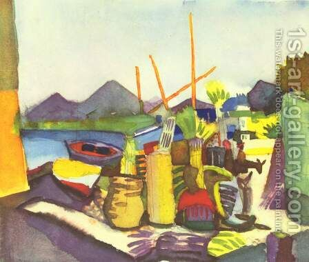 Landscape near Hammamet by August Macke - Reproduction Oil Painting