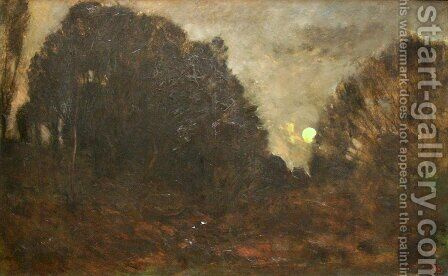 Rising Moon in Barbizon by Charles-Francois Daubigny - Reproduction Oil Painting
