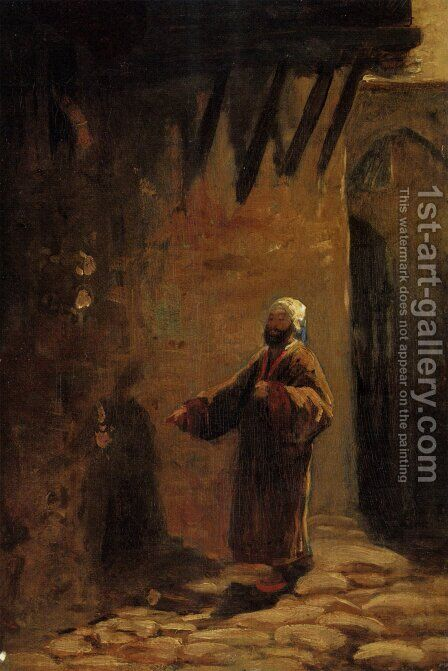 Turk in Enger Gasse by Carl Spitzweg - Reproduction Oil Painting